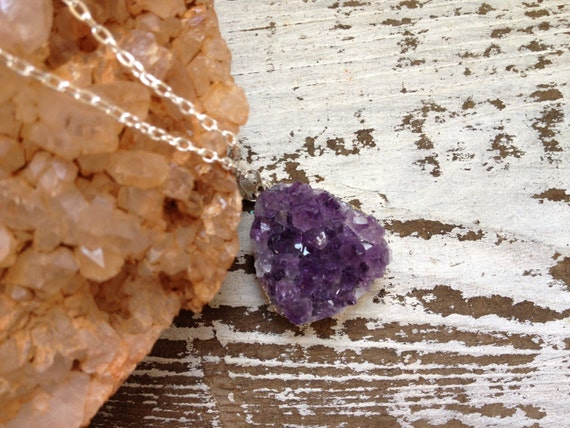RESERVED for JACKIE,,,,,,,,CAVE /  Raw Purple Amethyst Druzy Quartz Crystal Gemstone Pendant Layering Necklace Sterling Silver Plated Long