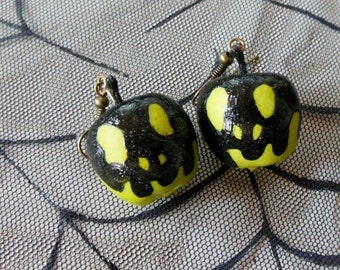 Hand Painted Glitter Poison Apple Earrings - Green or Red