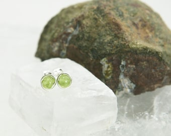 Small Peridot Stud Earrings - Sterling Silver Spring Green Gemstone Rounds - Joy, Peace, Healing, August Birthstone