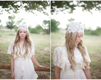 Ivory Lace Bridal Cap with a bit of Glistening Detail
