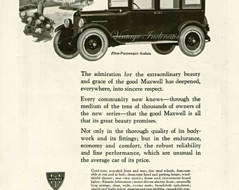 Antique 1922 Car Ad The Good Maxwell advertising print decor