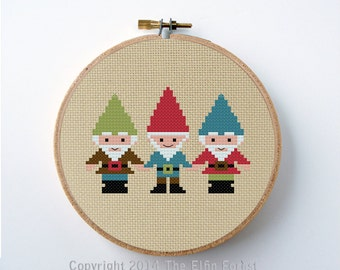 Gnomes Cross Stitch Pattern PDF Digital Instant Download Needlepoint