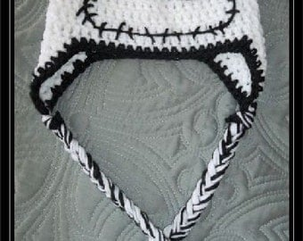 Crocheted Skeleton hat with earflaps