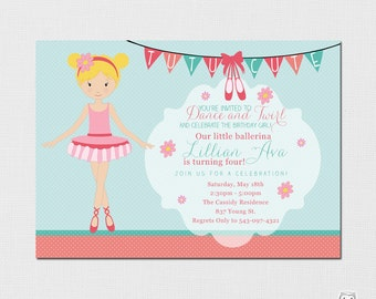 Ballerina Invitation - Ballerina Party - Ballerina Birthday Party Invitation - Printable