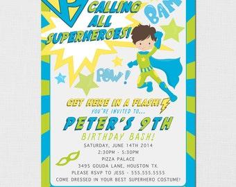 Superhero Invitation, Printable Superhero Invite, Superhero Birthday Party, Blue Superhero Invitation, Superhero for boys, Custom Printable