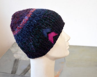 chevron geometrical Winter beanie hat, hand knitted violet, fuchsia soft warm ooak art, unique fashion design, felt applique, chunky 166