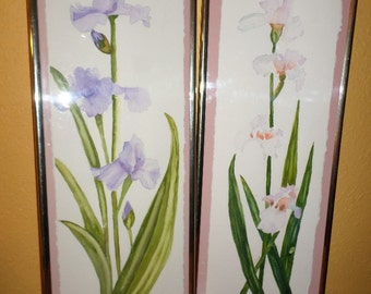 Water Color ORIGINAL/TRINA SILVA/Iris/Framed/Pink/Purple Iris