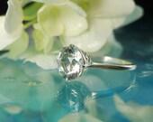 Herkimer Diamond Ring Solitaire Diamond Alternative Gift for Her Engagement Ring Handmade Jewelry Wedding