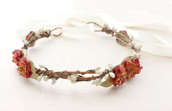 Autumn Floral Crown, Flower Crown, Harvest Festival, Woodland. Rustic, Fall, Bridal Headpiece, burnt orange, Hair Accessories