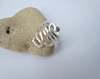 Egyptian Coil Ring. Sterling Silver Snake Ring. Artisan Boho Ring. Elegant Bold Ring. Israel Jewelry