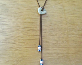 Bolo Tie Suede Lariat Necklace with Holey Stone Focal Pendant. Beach Stone Eco Necklace. Natural Sea Rock Jewelry. Hag Stone Charm