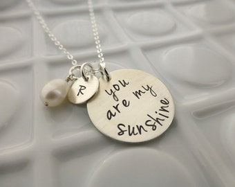 You Are My Sunshine - Hand Stamped Mommy Jewelry - Sterling Silver - Personalized Necklace - Gift for Her - Mother Jewelry - Initial Custom