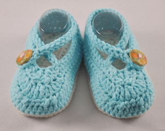 NEW DESIGN Cross Strap double sole shoes for girls in aqua with painted wooden button
