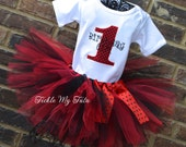 Ladybug Birthday Number Tutu Outfit, Red and Black Polka Dot Birthday Tutu Outfit, Ladybug Birthday Tutu Set
