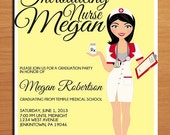 Nursing / Pharmacist / Medical Degree Graduation Party Invitation Cards PRINTABLE DIY