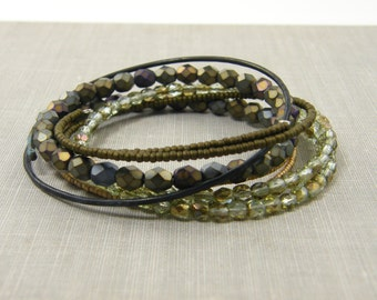Boho Bracelet Set, Green Brown Stacking Bracelets, Dark Brass Bangle Layered Bracelets, Brown Gold Bronze Bracelet, Green Beaded Bangle