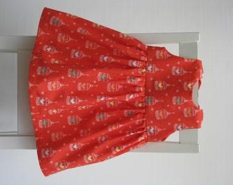 Baby girl cotton dress size 6-9 months 68 centilong orange bird cage print