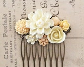 Ivory Wedding Hair Comb Bridal Headpiece Soft Cream Flower Woodland Collage Affordable Floral Bridal Hair Accessory Quaint Bohemian WR