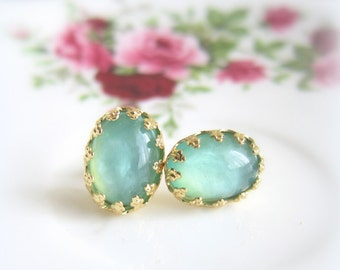 Sea Foam Earrings Mint Opal Gold Stud Earrings Wedding Bridal Seafoam Blue Bohemian Chic Delicate Elegant Bridesmaid Earrings Set (MS1)
