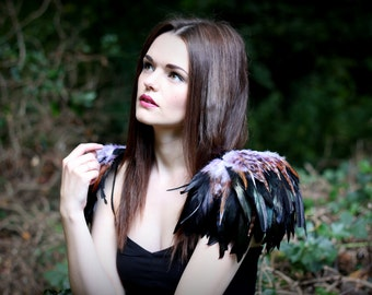 Natural, lilac and black  feather shoulder epaulette, feather wings, tribal feather shoulder pieces