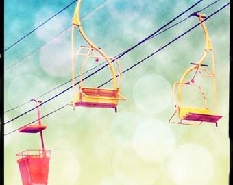 Nursery Decor Amusement Park Art, Carnival Ride, Pastel  Wall Art, Bokeh Photography Art Print Yellow Blue