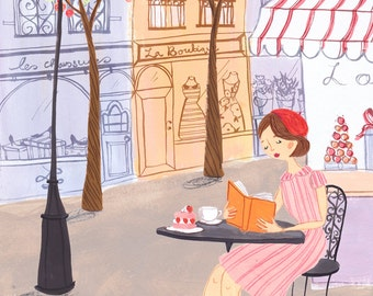 Springtime in Paris A4 Art Print