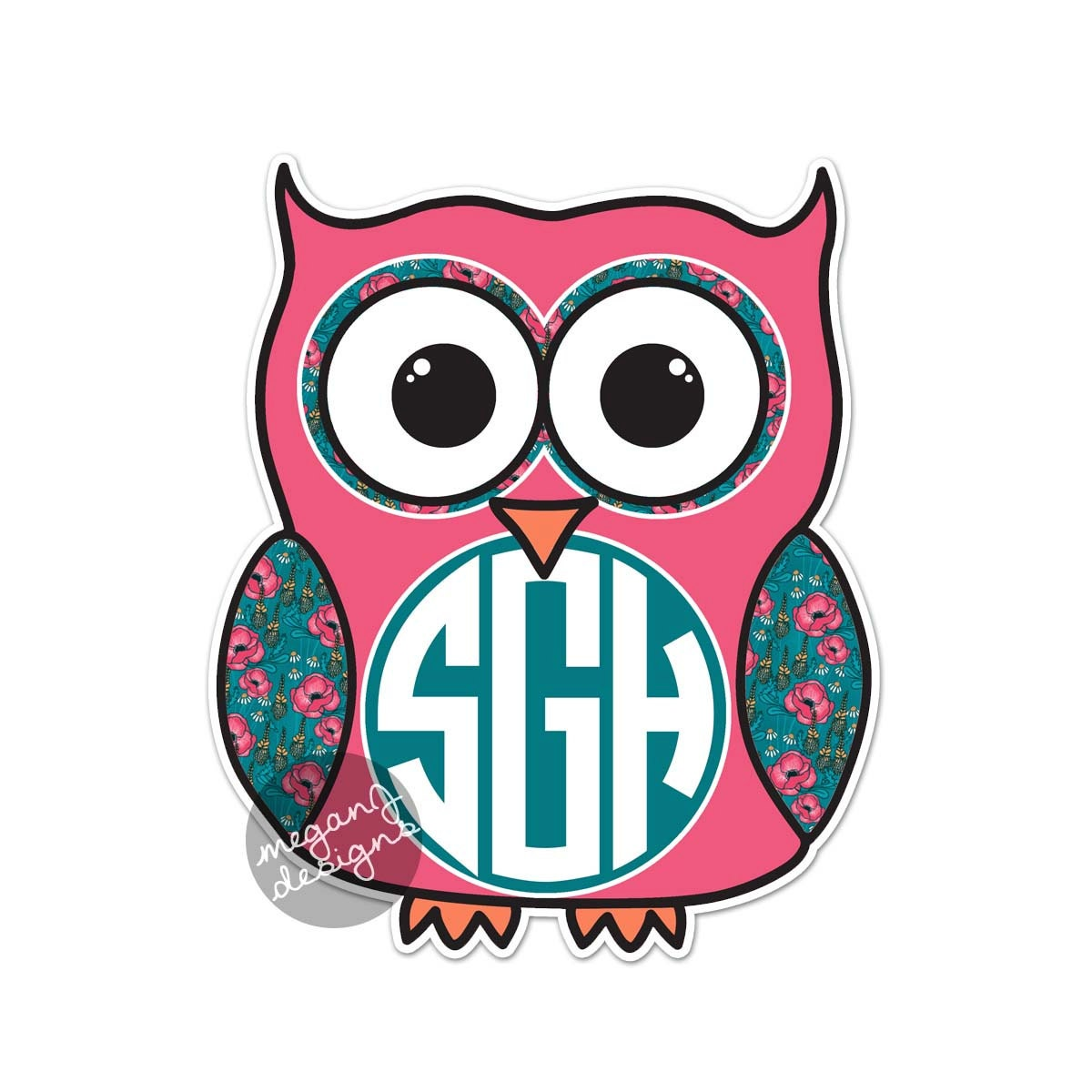 Wall Stickers Buy Custom Monogram Owl Decal Colorful Floral Cute Car Sticker