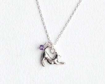 Kitty Cat Necklace- Swarovski Crystal Bead -925 Sterling Silver or Silver Tone Chain- Charm Jewelry- Custom Birthstone