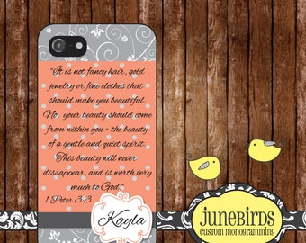 Personalized Iphone 4/4S and Iphone 5 Cell Phone Case - 1 Peter 3:3 Gray and Peach