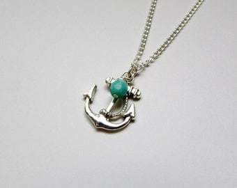 Silver Anchor Charm Necklace with Teal Bead
