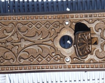 Ornate Cast Iron Doorplate With Thumb Lever