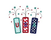 USA Fireworks Applique Machine Embroidery Design-INSTANT DOWNLOAD