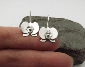 Sterling Silver Orchid Earrings - Handcrafted in Argentium Silver