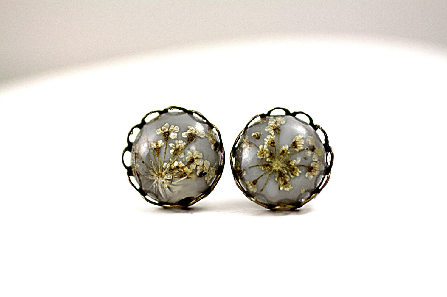 Real flower tiny stud earrings earring studs by for Gemsprouts tiny plant jewelry