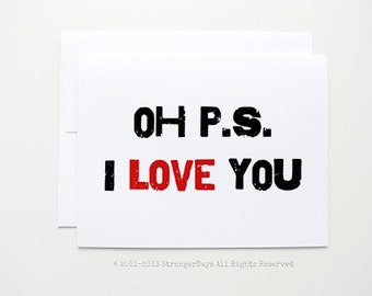 "I love you card "" P.S. I love you"" Greeting card. Anniversary Card."
