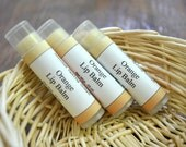 Orange Lip Balm made with Orange Essential Oil, Natural Beeswax Lip Balm