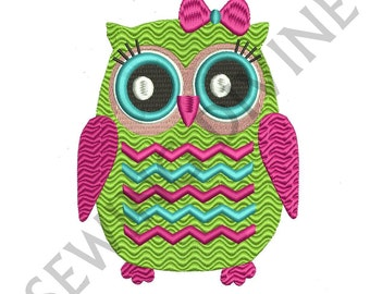CHEVRON OWL Embroidery Design 4x4 5x7 6x10 inch Hoop Instant Download Pretty Girl Owl