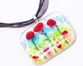 Poppies fused glass pendant necklace dichroic silver poppy flower red blue green garden gardener mom mum field christmas xmas present gift