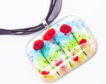 Poppies fused glass pendant necklace poppy flower remembrance xmas christmas secret santa stocking filler gifts presents gardener mom mum