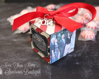 Personalized Christmas Ornament | Christmas Gift | Peppermint Candy Cane Stripes | Keepsake | Chalkboard Design | Merry and Bright