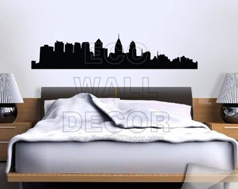 PEEL and STICK Removable Vinyl Wall Sticker Mural Decal Art - Philadelphia Skyline Architecture Landscape Shadow Decal