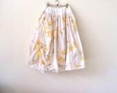 Tween girls twirly skirt, size 12 - 14 girls long summer skirt, double layer prairie skirt, cotton petticoat skirt, ready to ship, upcycled