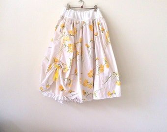 Tween girls twirly skirt, size 12 - 14 girls long summer skirt, double layer prairie skirt, cotton petticoat skirt, ready to ship, upcycled