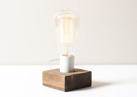 Multi-Use Block Lamp- Wall Lamp, Table Lamp, Wooden Lamp, Small Light, Edison Bulb Lighting
