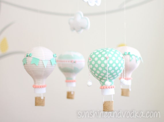 Pink and Aqua Baby Mobile, Hot Air Balloon Mobile, Baby Shower Gift Idea, Nursery Decor, Personalized Baby Gift, i115