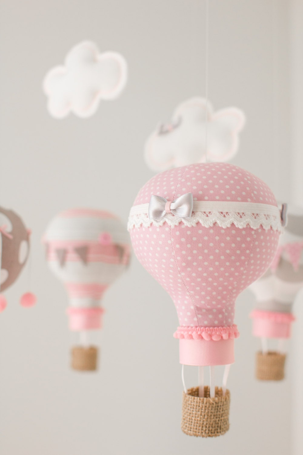 Hot air balloon baby mobile nursery decoration pink and for Baby mobile pink and grey