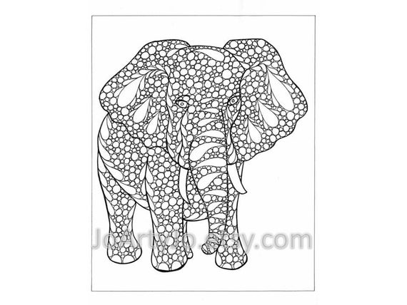 Coloring Page Elephant Zentangle Inspired Printable Zendoodle