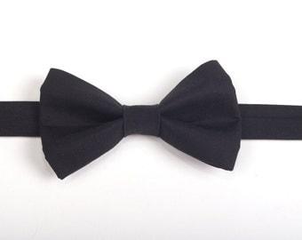 Black Bow Tie, men's bow tie, boy's bow tie, men's accessories, boy's accessories, black tie, pre-tied bow tie, toddler bow tie, black