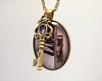 California Mission Key Photograph Pendant On Chain Necklace Original Handmade Spanish