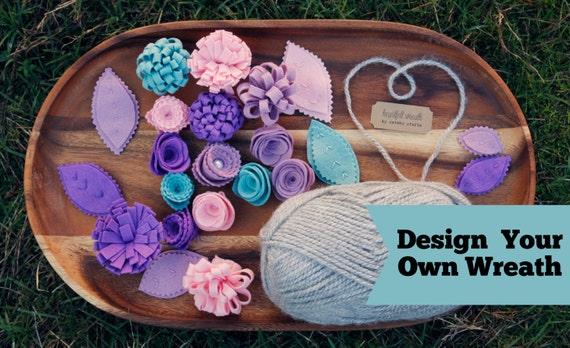 items similar to kranz mit filz blumen und bl tter garn. Black Bedroom Furniture Sets. Home Design Ideas